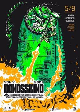 Cartel de la quinta edición del festival de cortometrajes Donosskino