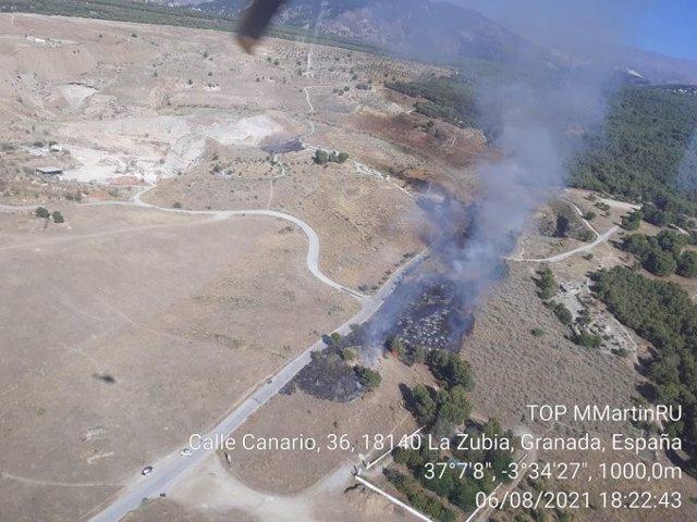 Incendio forestal en La Zubia