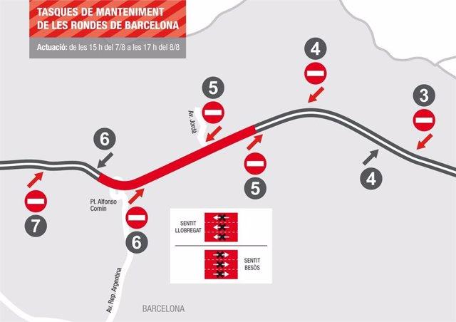 La Roda de Dalt (B-20) de Barcelona sofrirà corts de circulació aquest cap de setmana per renovació d'asfalt.