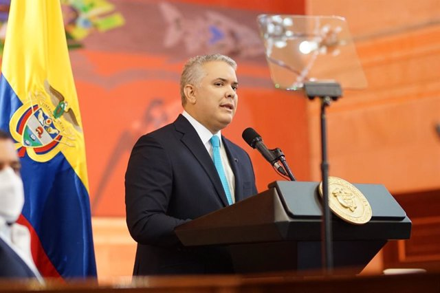20 July 2021, Colombia, Bogota: Colombian President Iván Duque delivers a speech during the inaugural session of Congress. Photo: ---/colprensa/dpa