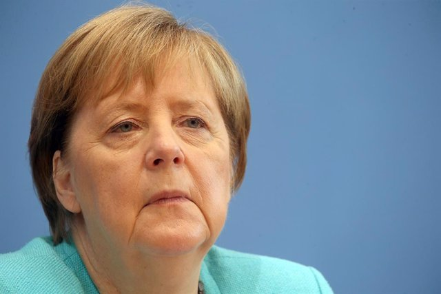 22 July 2021, Berlin: German chancellor Angela Merkel attends a press conference at the Federal Chancellery. Photo: Wolfgang Kumm/dpa
