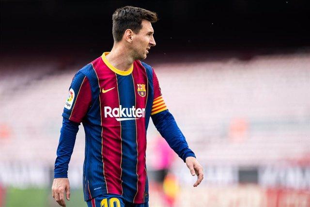 Archivo - 16th May 2021; Camp Nou, Barcelona, Catalonia, Spain; La Liga Football, Barcelona versus Celta de Vigo; 10 Leo Messi during la Liga match against Celta de Vigo at Camp Nou Stadium