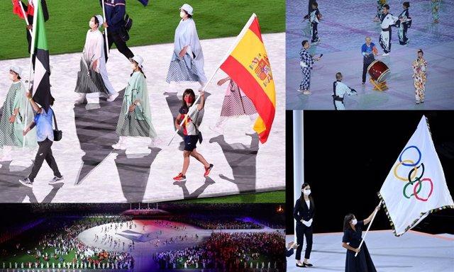 La karateca española Sandra Sánchez como abanderada e imágenes de la Ceremonia de Clausura de los Juegos Olímpicos de Tokio