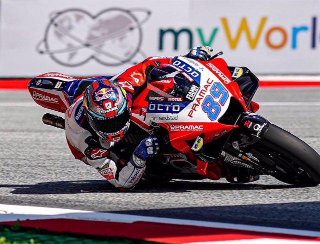 El pilot espanyol Jorge Martín (Pramac Racing Ducati), 'pole man' en el Gran Premi d'Estiria de MotoGP, en el circuit Red Bull Ring de Spielberg (Àustria)