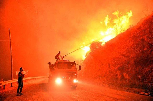 Un grupo de bomberos intena sofocar un fuego cerca de Milas, en el suroeste de Turquía.