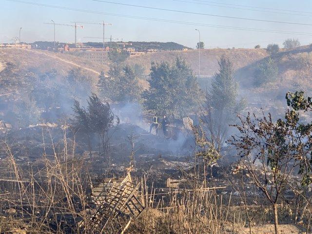 Incendio en pastos próximos a la Cañada Real