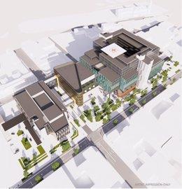 Simulación del nuevo hospital de Dunedin, en el que Cimic participará