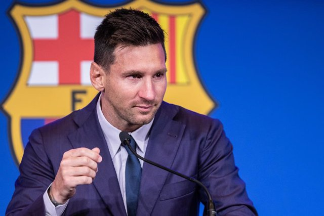 """Lionel """"Leo"""" Messi attends during his press conference to talk about his departure from FC Barcelona at Camp Nou stadium on August 08, 2021, in Barcelona, Spain"""