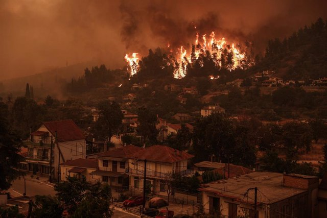 08 August 2021, Greece, Gouves: A blaze engulfs trees in its path as forest fires approach the village of Gouves on Evia island, about 189 kilometers north of Athens. Photo: Eurokinissi/Eurokinissi via ZUMA Press Wire/dpa