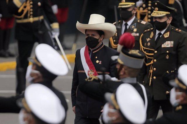 Pedro Castillo en el acto de toma de posesión como presidente de Perú.