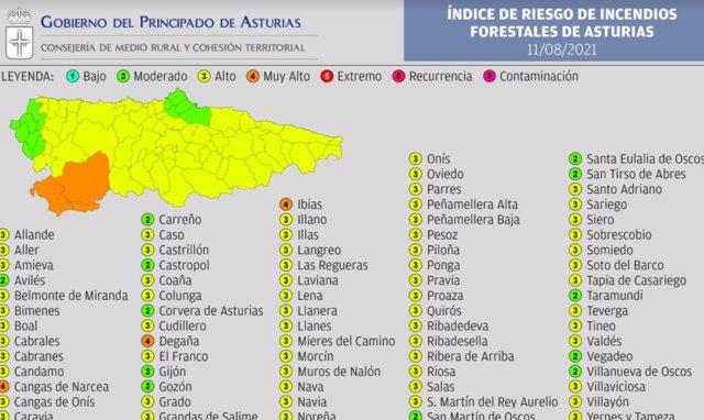 Indice de riesgo forestal