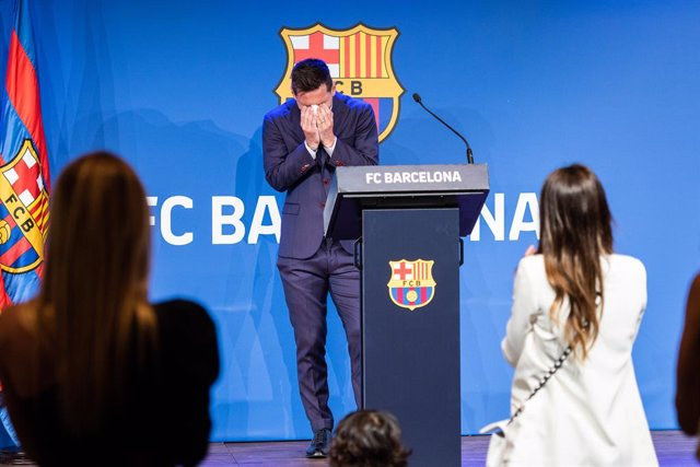 """Lionel """"Leo"""" Messi laments during his press conference to talk about his departure from FC Barcelona at Camp Nou stadium on August 08, 2021, in Barcelona, Spain"""