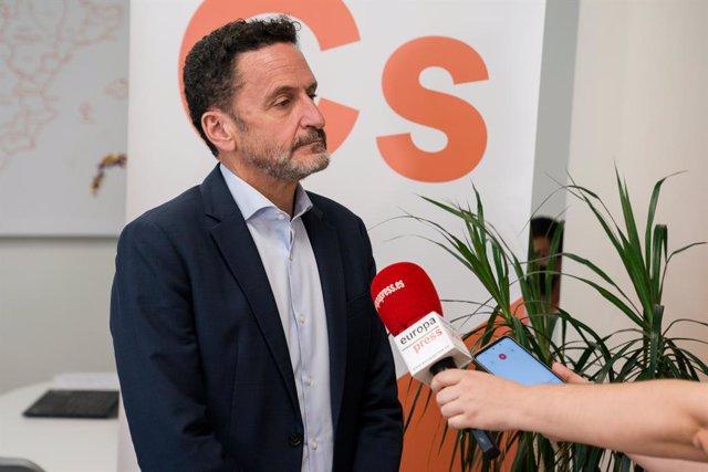 El vicesecretario general y portavoz nacional de Ciudadanos, Edmundo Bal, durante una entrevista para Europa Press en la sede de la agencia, a 5 de agosto de 2021, en Madrid (España).