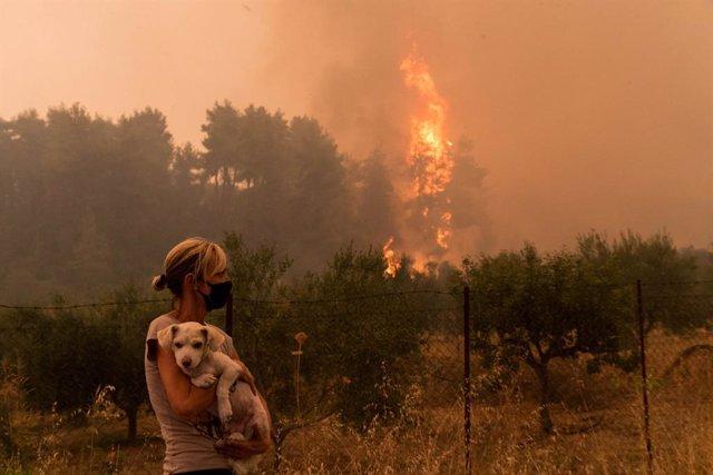 Incendios en la isla de Eubea, Grecia.