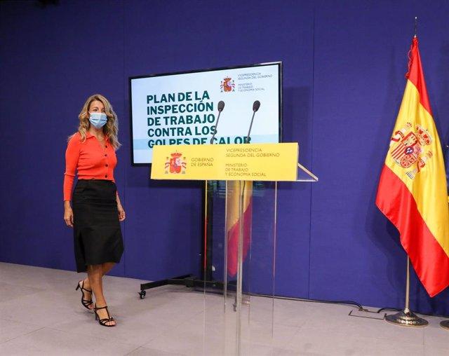 La vicepresidenta segunda del Gobierno y ministra de Trabajo y Economía Social, Yolanda Díaz, durante la reciente presentación del Plan de la Inspección contra los golpes de calor