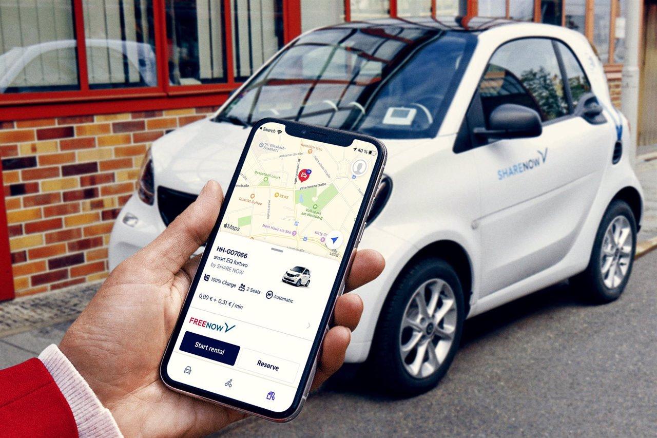 La app de Free Now en España integra los más de 600 vehículos eléctricos compartidos de Share Now