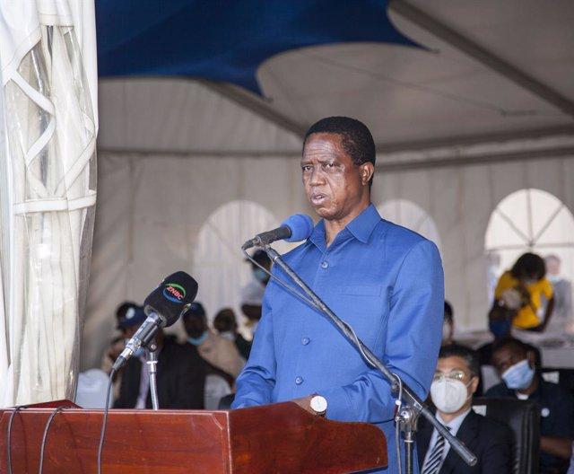 Archivo - El presidente de Zambia, Edgar Lungu