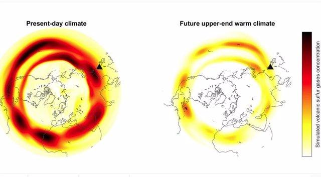 Simulación de concentraciones globales de gas de azufre, en escenarios de calentamiento actuales y de alto nivel.