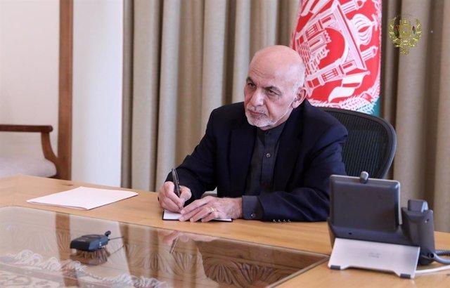 Archivo - El presidente de Afganistán, Ashraf Ghani, en el palacio presidencial