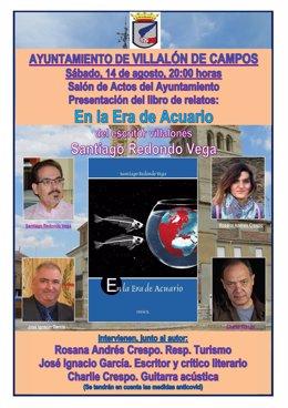 Archivo - Cartel de la presentación del libro de relatos 'En al era de Acuario', de Santiago Redondo Vega, en Villalón de Campos.