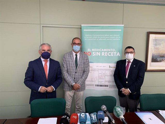 Presentación de la campaña 'El medicamento, NO sin receta oficial' puesta en marcha en Málaga para que médicos, pacientes presenten recetas oficiales para adquirir fármacos en las oficinas de farmacia