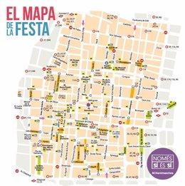 Mapa de la Festa Major de Gràcia d'aquest 2021
