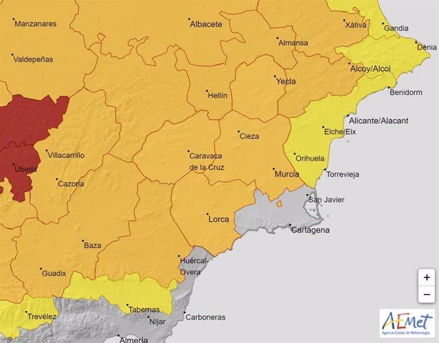 Alerta temperaturas sábado 14 de agosto 2021 en la Región d eMurcia