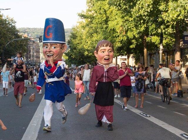 Cabezudos en la Semana Grande de San Sebastián