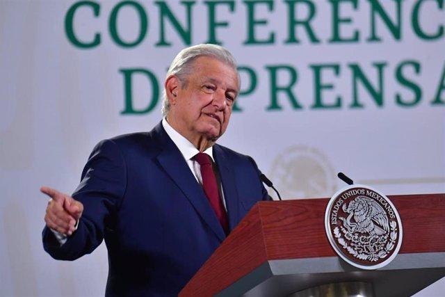 El presidente de México, Andres Manuel Lopez Obrador, durante su rueda de prensa diaria