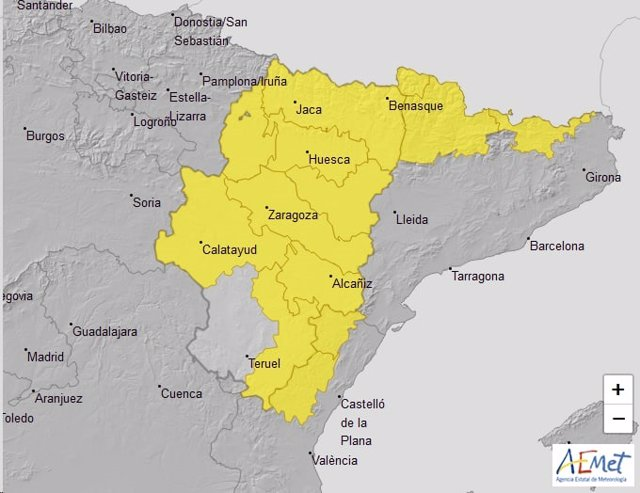Aviso de nivel amarillo por tormentas este sábado en las tres provincias aragonesas.