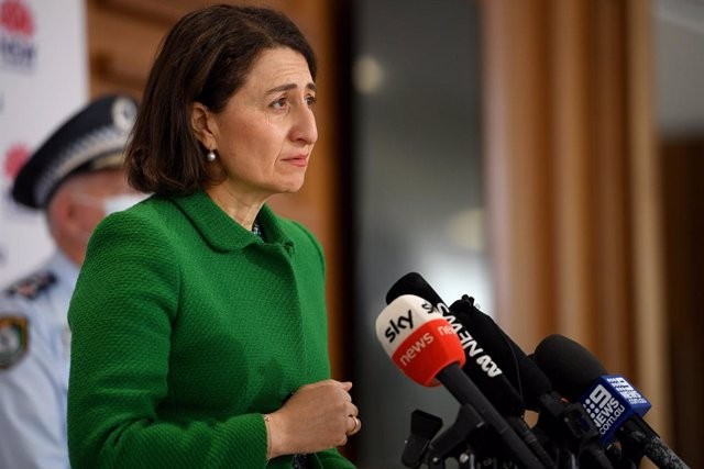 NSW Premier Gladys Berejiklian addresses media during a press conference in Sydney, Saturday, August 14, 2021. (AAP Image/Dan Himbrechts) NO ARCHIVING