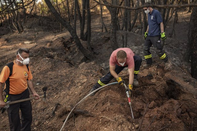 13 August 2021, Greece, Lalas: German firefighters fight remaining embers near Lalas, during an operation on the Peloponnese peninsula after forest fires. Photo: Socrates Baltagiannis/dpa