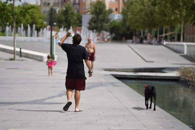 Un hombre pasea con su perro en el Parc Central, a 12 de agosto de 2021, en Valencia, Comunidad Valenciana (España). Como consecuencia de la ola de calor que comenzó ayer en toda España, la Comunitat Valenciana alcanzará durante la jornada de este jueves,