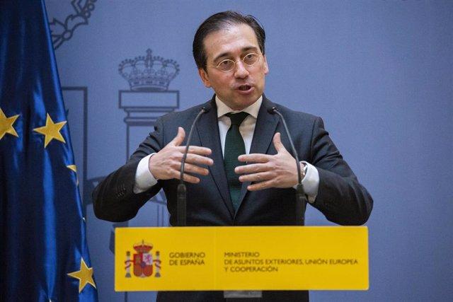 El ministro español de Asuntos Exteriores, Unión Europea y Cooperación, José Manuel Albares