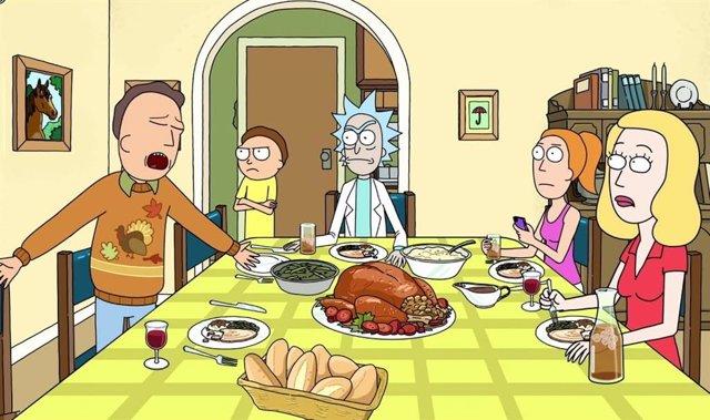 Rick, Morty y toda la familia celebrando Acción de Gracias