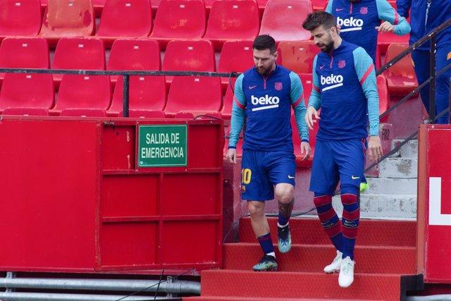 Archivo - Arxiu -  Leo Messi i Gerard Piqué amb el FC Barcelona