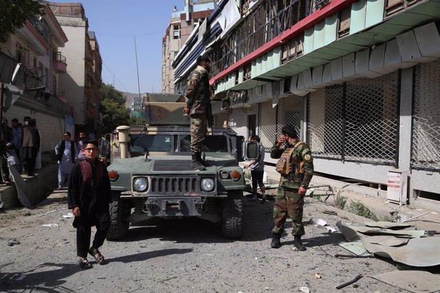 Archivo - Miembros de las fuerzas de seguridad afganas en Kabul