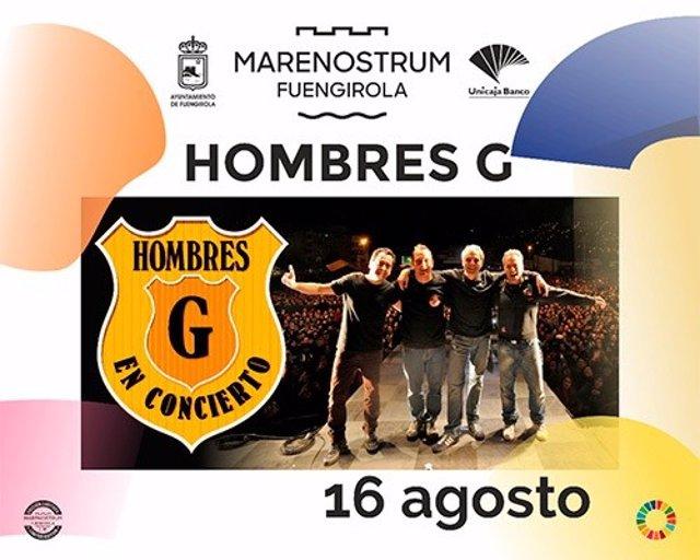 Cartel de Hombres G de su concierto en Marenostrum Fuengirola