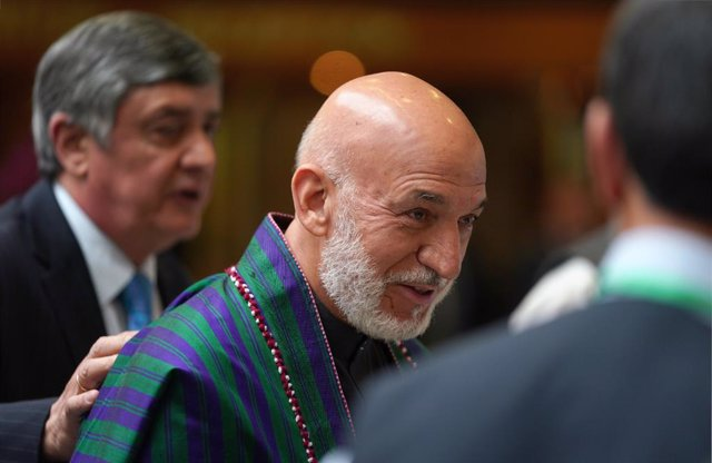 Archivo - May 28, 2019 - Moscow, Russia: The ceremonial meeting dedicated to the 100th anniversary of the establishment of Russian-Afghan diplomatic relations. Former Afghan President Hamid Karzai (center) at a meeting in the President Hotel. (Emin Dzhafa