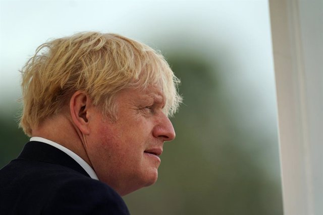 06 August 2021, United Kingdom, Camberley: UK Prime Minister Boris Johnson arrives at the Royal Military Academy Sandhurst in Camberley ahead of the Sovereign's Parade, which marks the end of 44 weeks of training for officer candidates. Photo: Steve Parso