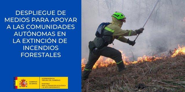 Medios antiincendios del Ministerio para la Transición Ecológica y el Reto Demográfico.