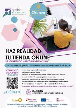 Cartel promocionador de la acción formativa de Arrabal-AID en Chiclana.