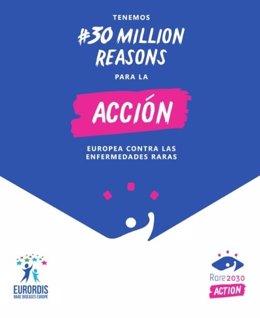 Cartel de la campaña 30 millions reasons con los logos de EURORDIS y el proyecto 'Rare 2030'.