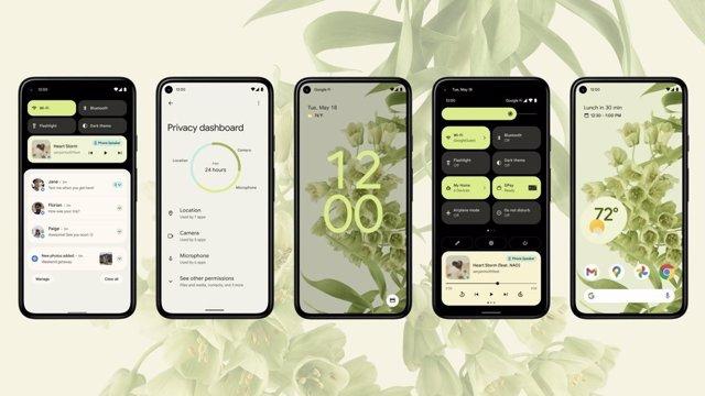 Archivo - Teléfonos móviles con interfaz de la beta de Android 12