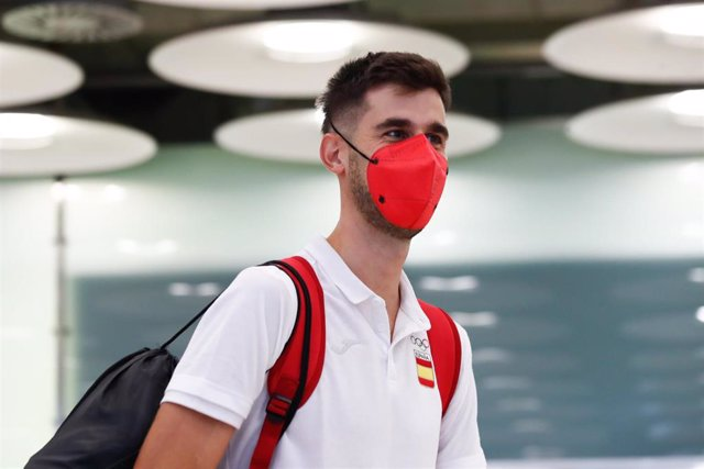 Spain athlete, Marc Tur, is welcomed at Adolfo Suarez Airport upon her return from the 2020 Summer Olympic Games in Tokyo on august 9, 2021, in Madrid, Spain.