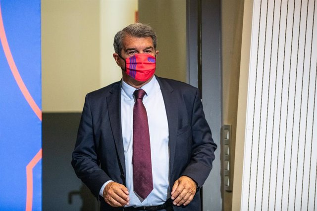 Joan Laporta, President of FC Barcelona, is seen during the Leo Messi press conference to talk about his departure from FC Barcelona at Camp Nou stadium on August 08, 2021, in Barcelona, Spain