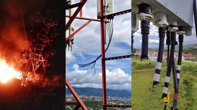 Imagénes de la estación de servicio de Telefónica en Táriba en Venezuela tras sufrir un robo.