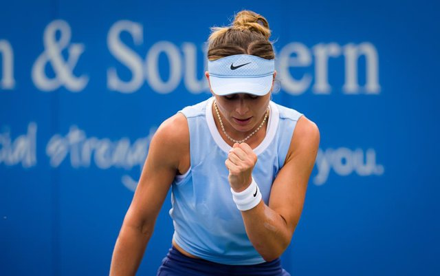 Paula Badosa of Spain in action during the first round of the 2021 Western & Southern Open WTA 1000 tennis tournament against Petra Martic of Croatia