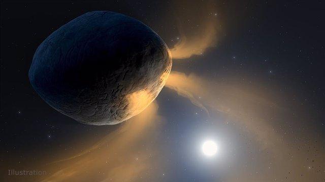 Esta ilustración muestra el asteroide Faetón calentado por el sol.
