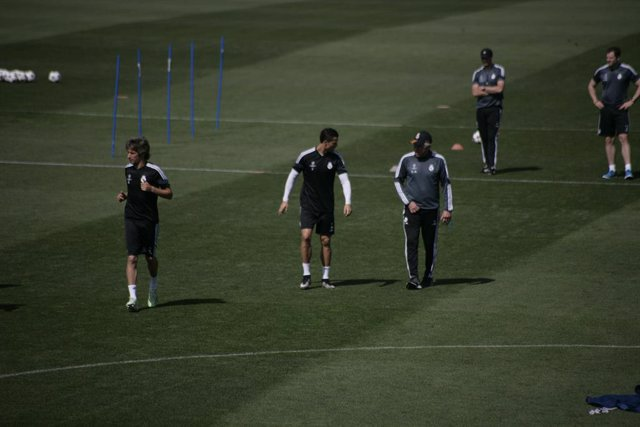 Archivo - Real Madrid entrenando: Luka Modric, Cristiano Ronaldo y Carlo Ancelotti